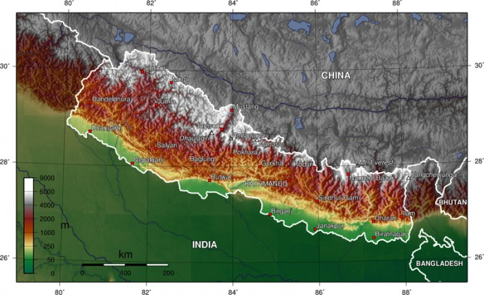 Map of Nepal - Trekking in Nepal